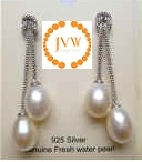 43255 9mm Fresh Water Pearl Earring w/925 Silver
