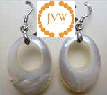 43265 White MOP Shell Earring w/925 Silver