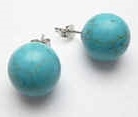 43296-12 12mm Turquoise Stone Earring