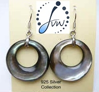 43328 25mm Black MOP Shell Earring w/925 Silver