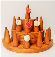 51014-2 Brown Wood Ring Display