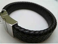 68015 Leather Bracelet with Stainless Steel Claps