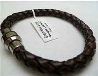 68022 Leather Bracelet with Stainless Steel Claps