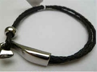 68026 Leather Bracelet with Stainless Steel Claps