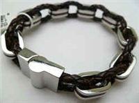 68027 Leather Bracelet with Stainless Steel Claps