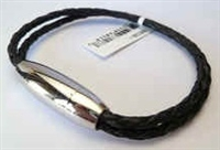 68028 Leather Bracelet with Stainless Steel Claps