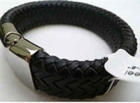 68031 Leather Bracelet with Stainless Steel Claps