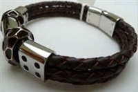 68032 Leather Bracelet with Stainless Steel Claps