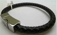 68033 Leather Bracelet with Stainless Steel Claps