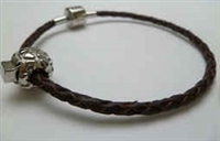68036 Leather Bracelet with Stainless Steel Claps