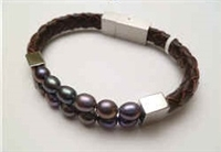 68044 Leather Bracelet with Fresh Water Pearl