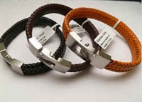 68050 Leather Bracelet with Stainless Steel Claps