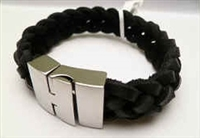 68051 Leather Bracelet with Stainless Steel Claps