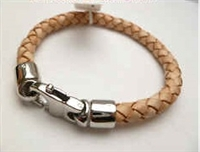 68054 Leather Bracelet with Stainless Steel Claps