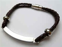 68055 Leather Bracelet with Stainless Steel Claps