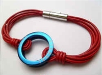 68057 Leather Bracelet with Stainless Steel Claps