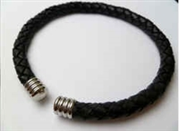 68058 Leather Bracelet with Stainless Steel Claps