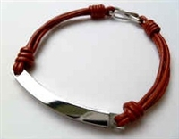 68061 Leather Bracelet with Stainless Steel Claps