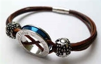 68063 Leather Bracelet with Stainless Steel Claps