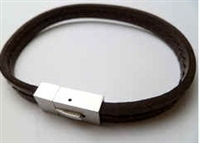 68064 Leather Bracelet with Stainless Steel Claps