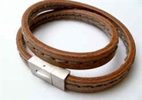 68065 Leather Bracelet with Stainless Steel Claps