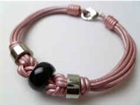 68066 Leather Bracelet with Stainless Steel Claps