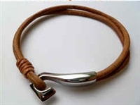 68068 Leather Bracelet with Stainless Steel Claps