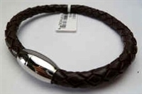 68082 Leather Bracelet with Stainless Steel Claps