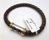 68093 Leather Bracelet with Stainless Steel Claps