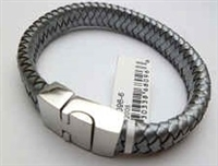 68096 Leather Bracelet with Stainless Steel Claps