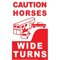 Caution Horses - Wide Turns Reflective Decal for Sale!