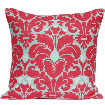 Plumes Damask Pillow - Coral