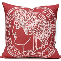 French Coin Pillow - Watermelon