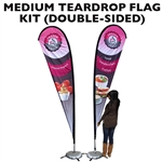 MEDIUM CUSTOM PRINTING TEARDROP ADVERTISING BANNER FLAG KIT (Double-Sided)