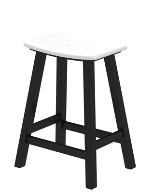 "Contempo 24"" Saddle Bar Stool (Black Frame)"