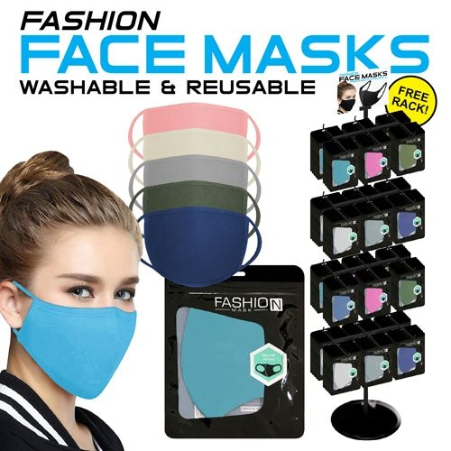 Reusable Color Adult Face Mask Display - 288pc per Display