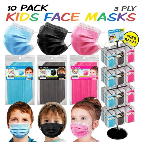 10-Pack Face Masks 288pc Display (Kids)