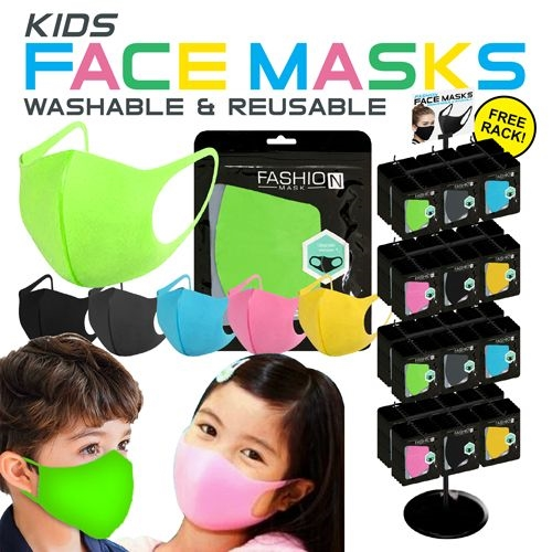 Kids Reusable Face Mask Display (Colored, 288pc)
