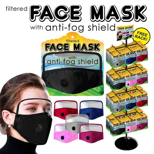 Face Mask & Shield 288pc Display (Adults)
