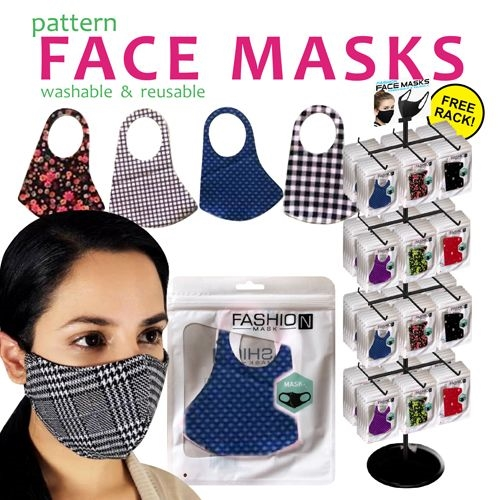 Pattern Reusable Face Masks - 288pc per Display