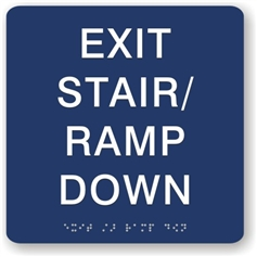 Exit Stair Ramp Down Braille Sign