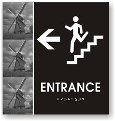 Stair Entrance Directional Braille Sign