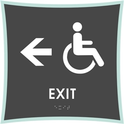 Handicap Exit Directional braille ADA Sign