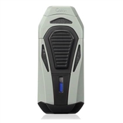 Colibri Boss Lighter - Silver & Black - Triple Flame Lighter w/ Double Guillotine Cigar Cutter