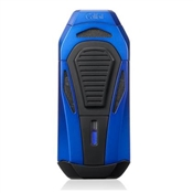 Colibri Boss Lighter - Blue & Black - Triple Flame Lighter w/ Double Guillotine Cigar Cutter