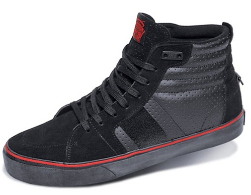 fms shoes o g high shoe black red