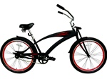 "Bicycle Unisex 26"" Stretch Beach Cruiser with Springer Fork BLACK"