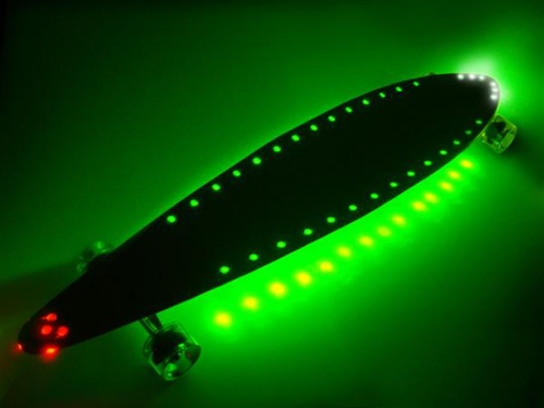 Led Beleuchtung Longboard : TNG Lighted Pintail Longboard  Green