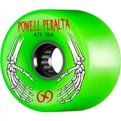 Powell Skateboard Wheels All Terrain  - 69mm/78a - Green Hands