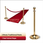 Brass Stanchion Kit: 2 + 1 velvet ropes  (Ball Top with Dome Base)